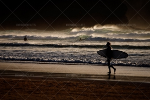 Surfer Walks By Treacherous Waves