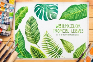 Tropical-Leaves-Watercolor-Vector-cover