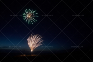 Motion Blurred Fireworks Light Up Night Sky No. 6