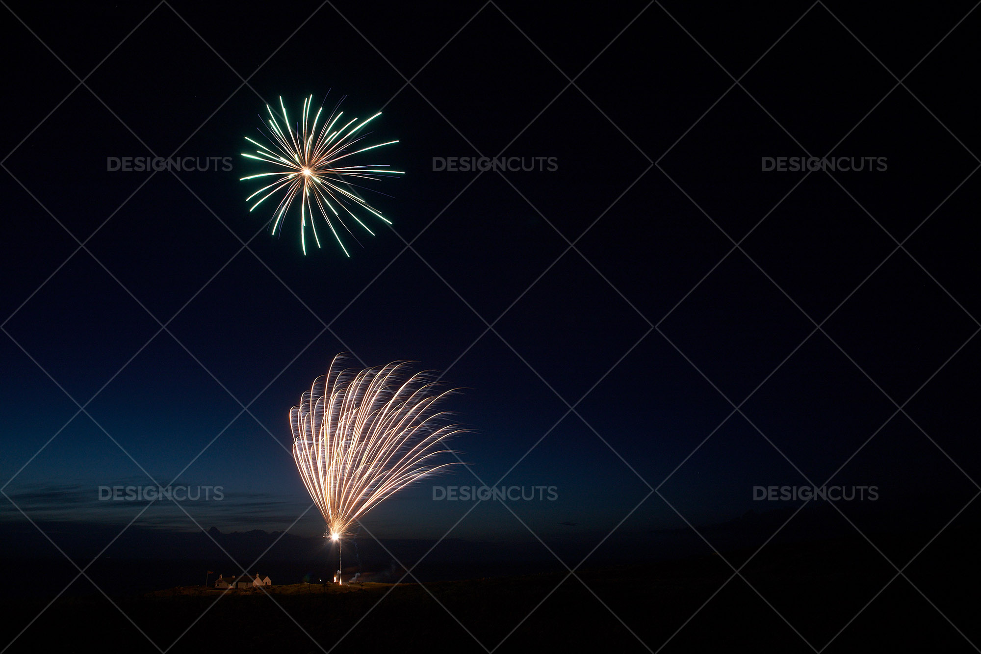 Motion Blurred Fireworks Light Up Night Sky 6