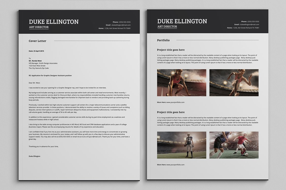 Two Pages Classic Resume CV Template