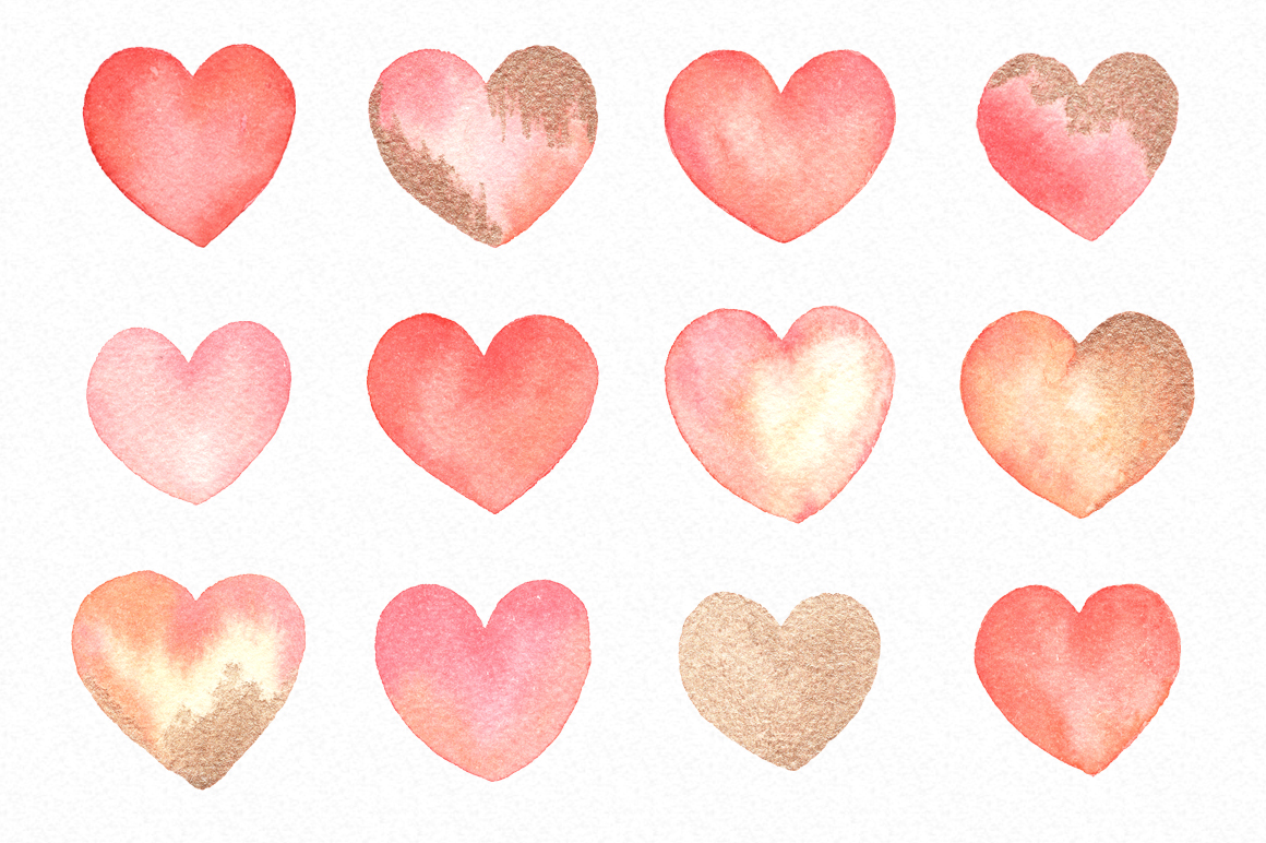 Watercolor Hearts Love Graphics - Handpainted gold