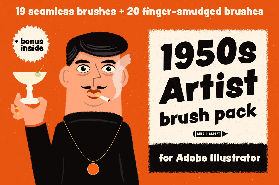 1950s Artist Brush Pack for Adobe Illustrator