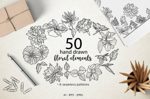 50-Hand-drawn-Floral-Elements-and-Patterns-cover
