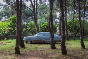A Covered Car Parked In The Woods Near Mytilini