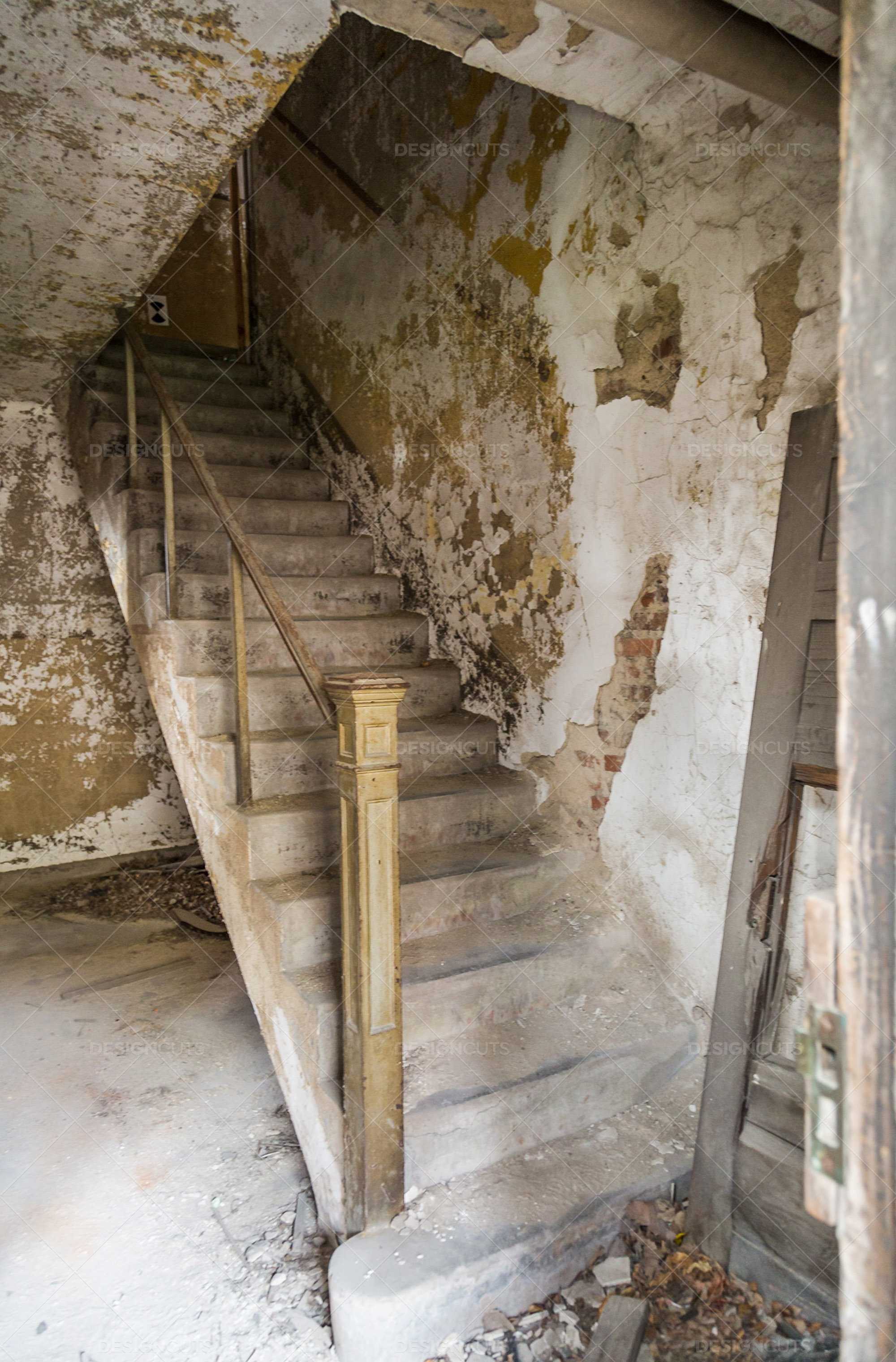 A Deserted Stairway In Ellis Island Immigration Hospital