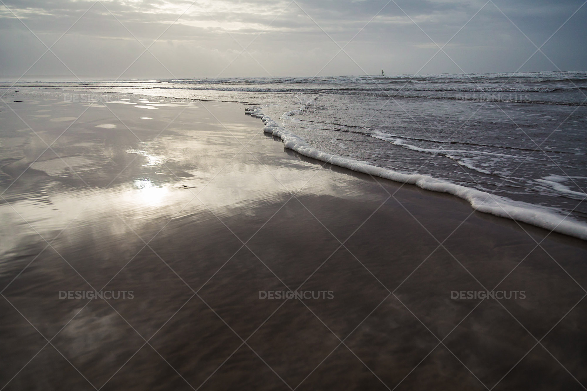 A Low Angle View Along The Edge Of The Surf At Saunton Sands, Devon 1
