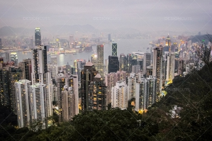 A View From The Peak Of Hong Kong's Skyline Lit Up At Dusk No. 1