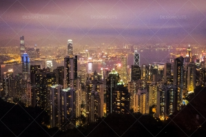 A View From The Peak Of Hong Kong's Skyline Lit Up At Dusk No. 2
