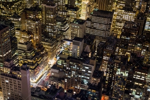 Aerial View Of New York City Skyscrapers Lit Up At Night No. 1