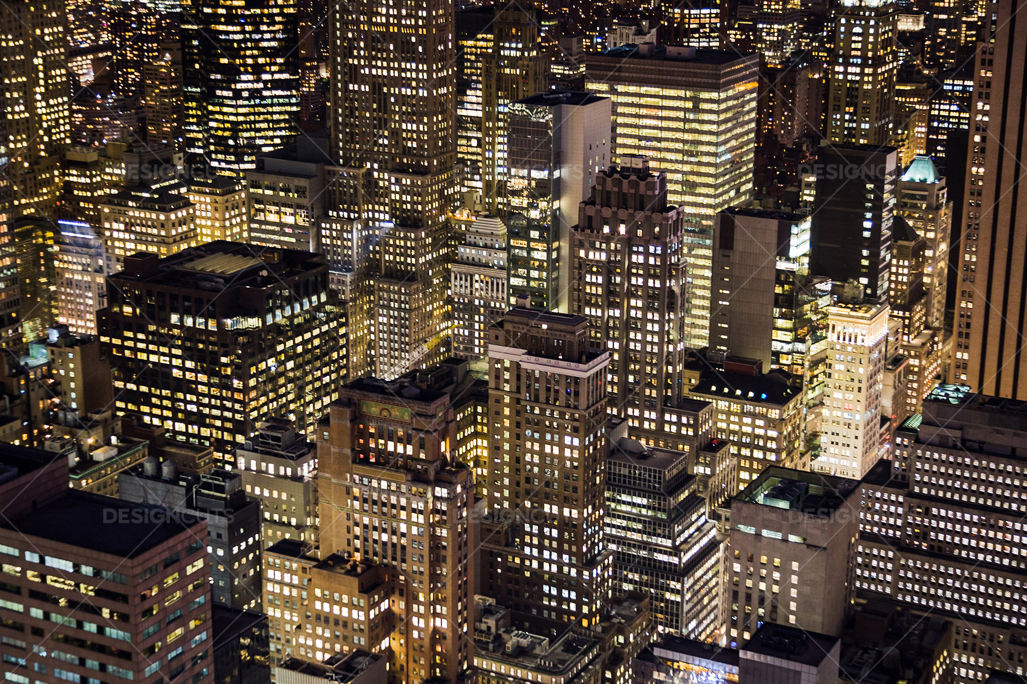 Aerial View Of New York City Skyscrapers Lit Up At Night 4