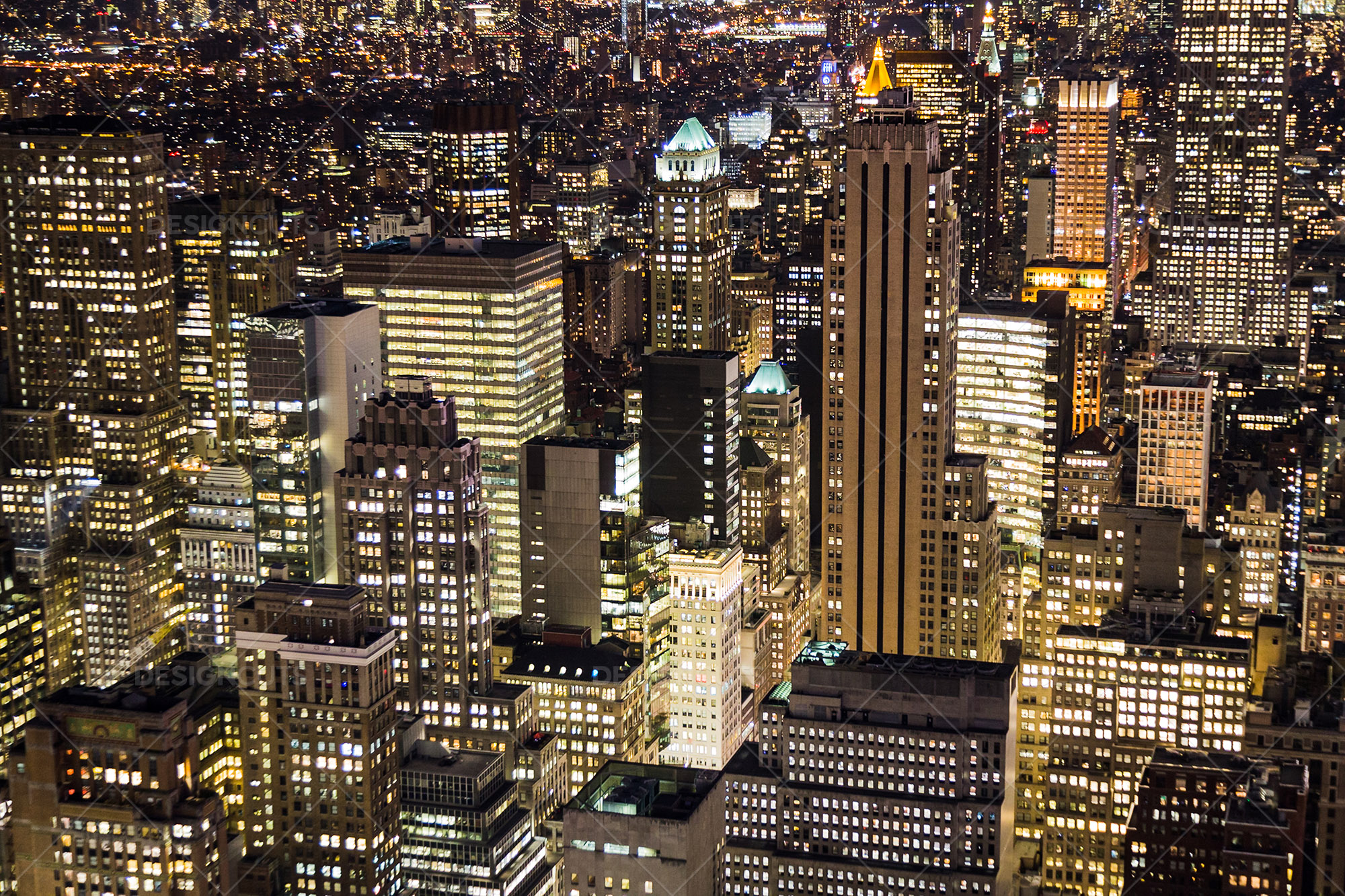 Aerial View Of New York City Skyscrapers Lit Up At Night No 5 Design Cuts