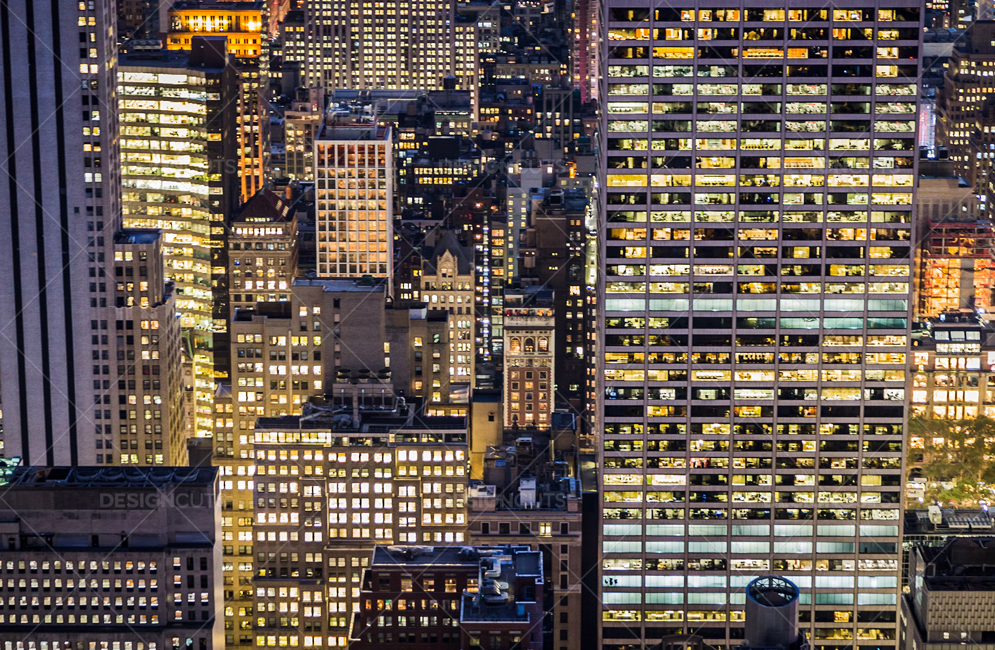 Aerial View Of New York City Skyscrapers Lit Up At Night No. 7