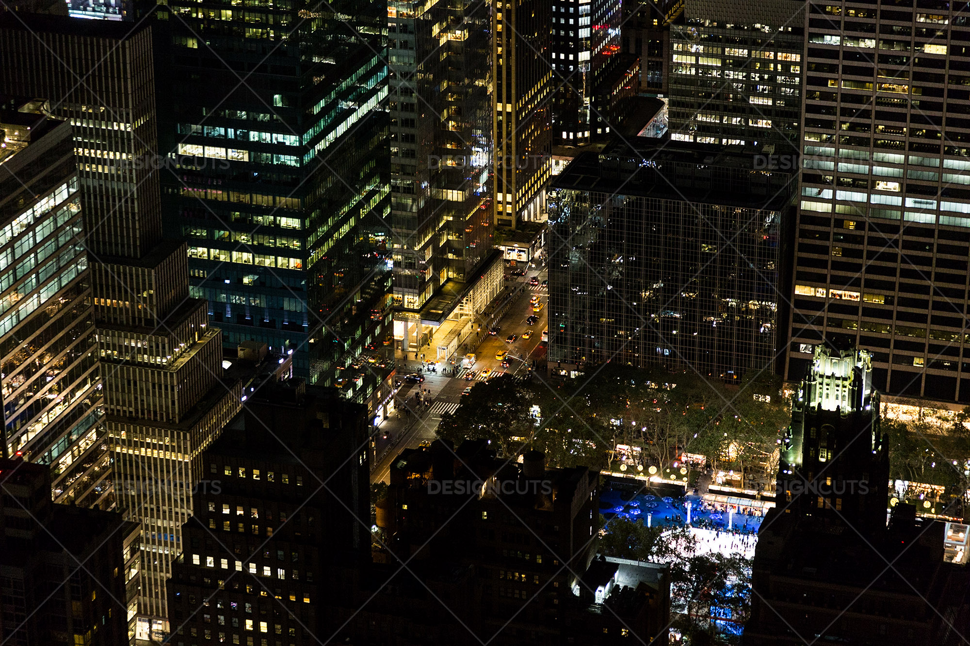 Aerial View Of New York City Skyscrapers Lit Up At Night 8