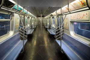 An Empty Subway Carriage On The New York Subway