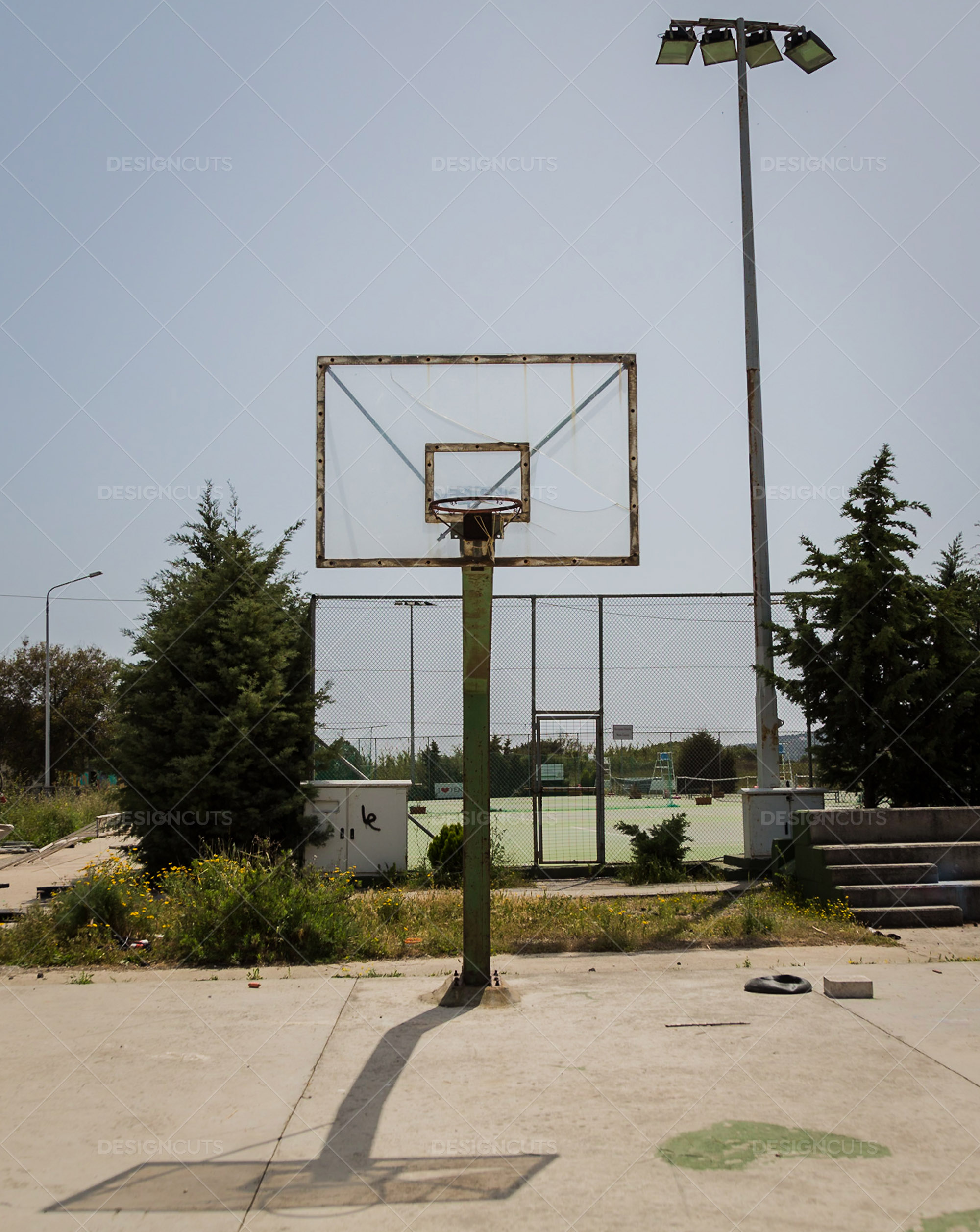 Basketball Hoop And It's Shadow On A Court