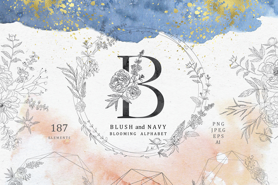Blush & Navy. Blooming Alphabet.