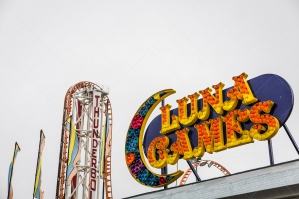 Colourful Rollercoaster In Coney Island's Luna Park No. 1