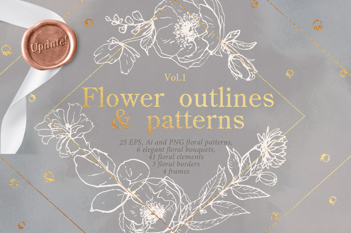 Flower Outlines & Vector Floral Patterns