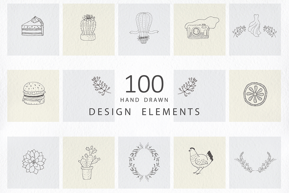 Hand Drawn Design Elements, Logos