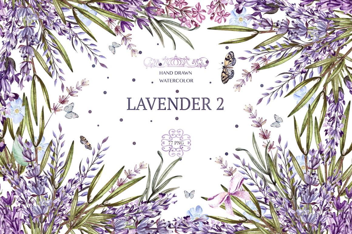 Hand Drawn Watercolor Lavender Flowers Pack Design Cuts