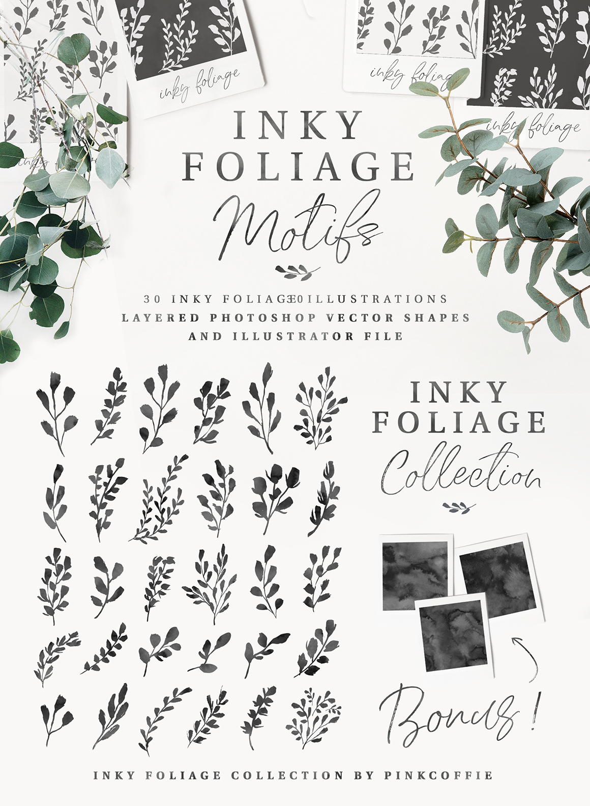 Inky Foliage - 30 Seamless Patterns + 30 Motifs