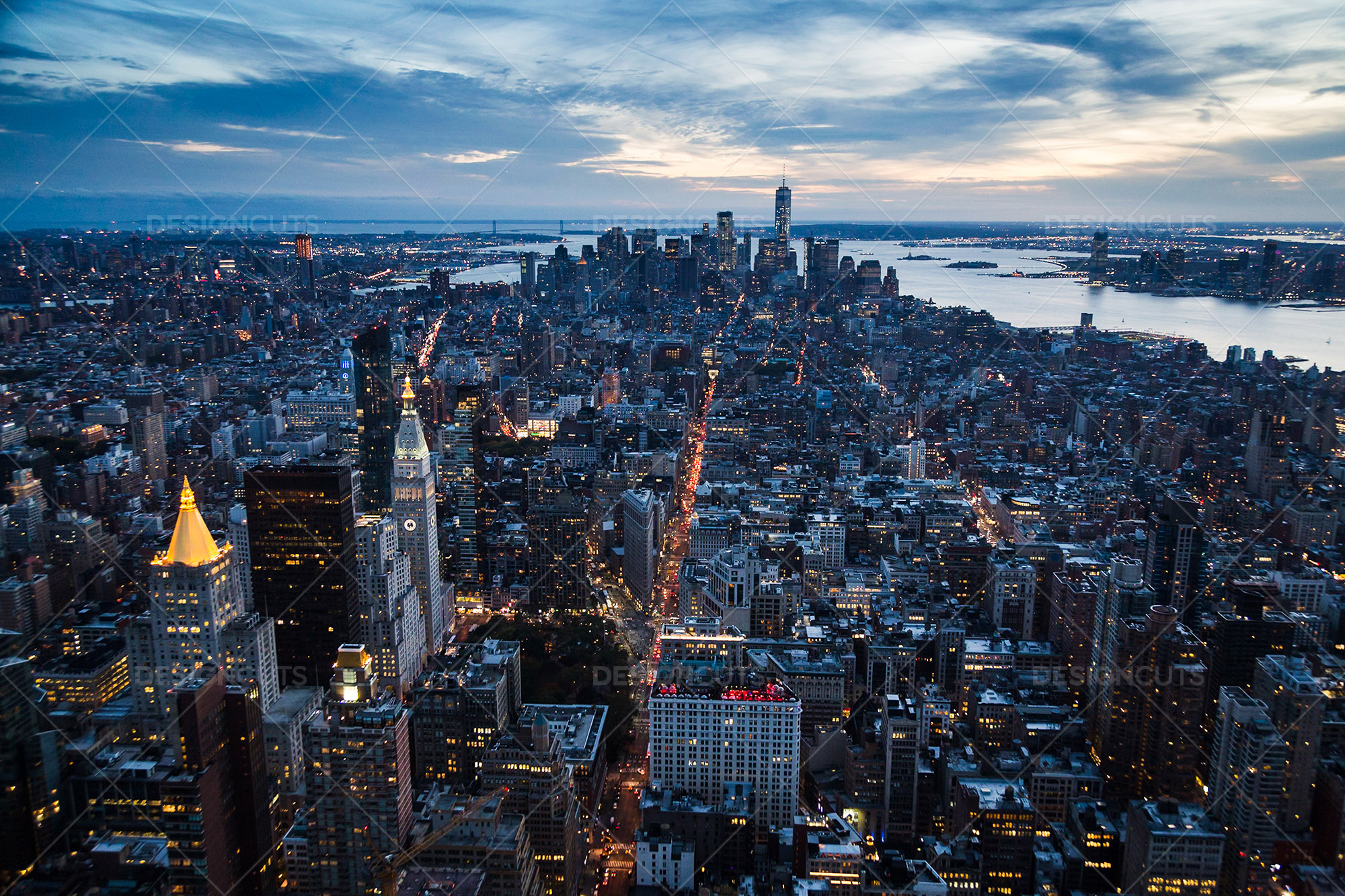 Manhattan Skyline From The Empire State Building New York At Sunset 1