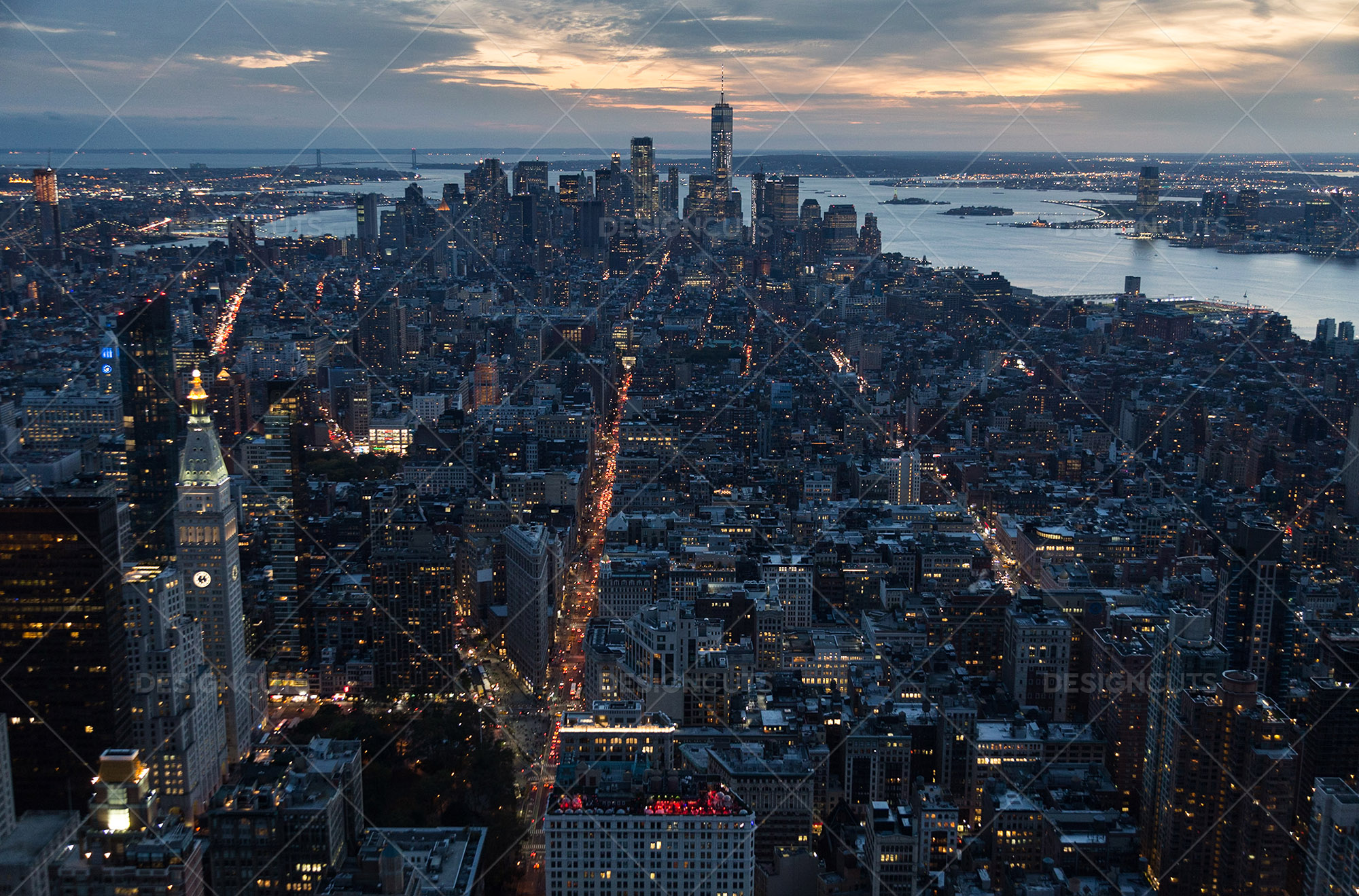 Manhattan Skyline From The Empire State Building New York At Sunset 2