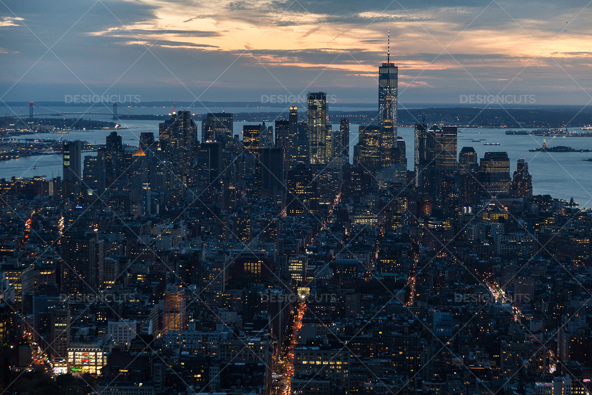 Manhattan Skyline From The Empire State Building New York At Sunset 3