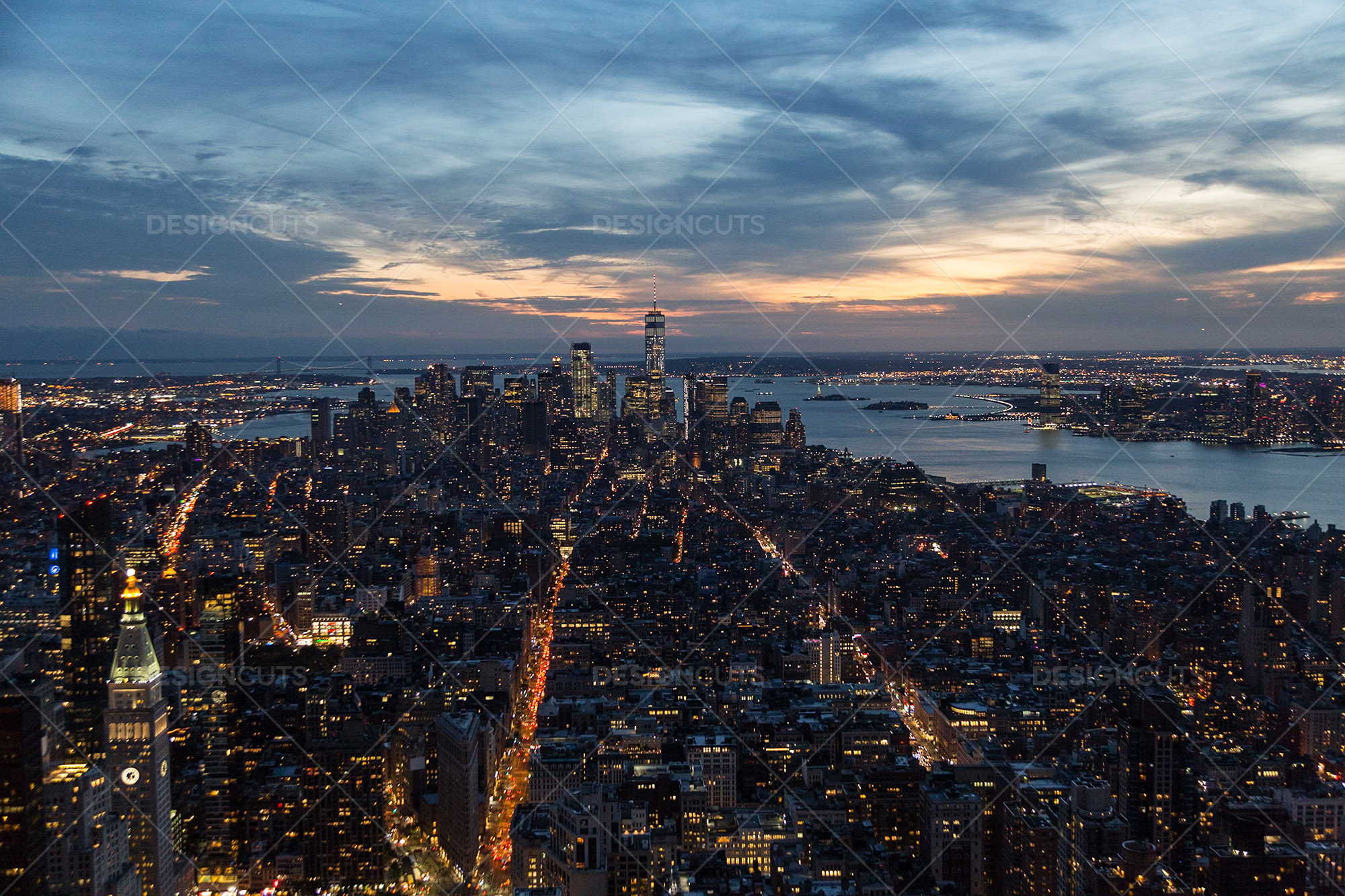 Manhattan Skyline From The Empire State Building New York At Sunset 4
