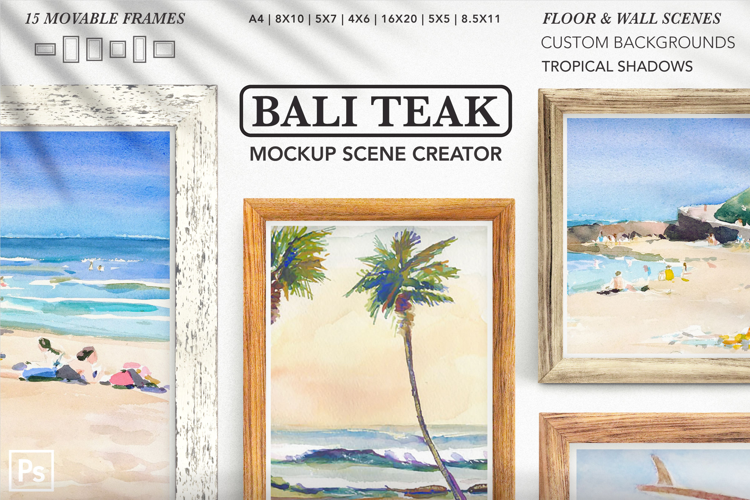 Scene Creator: 15 Teak Frames & Tropical Shadows