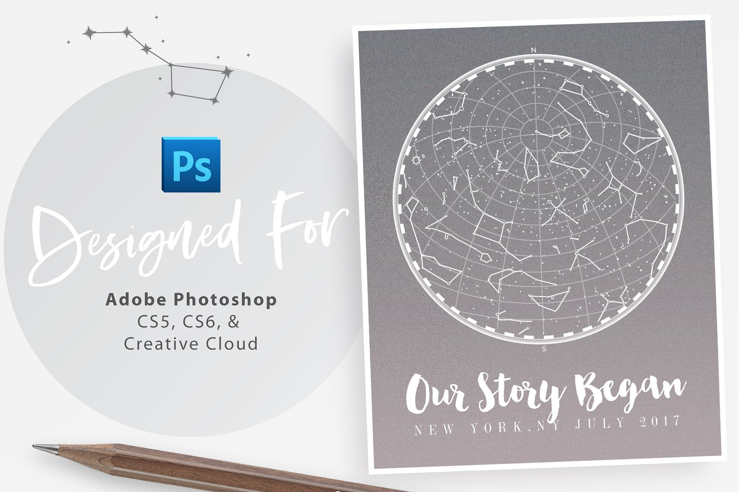 Starmap Poster Creator for Photoshop: Minimal