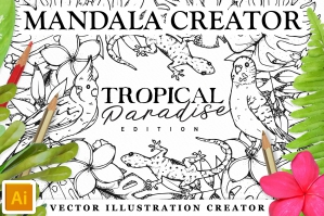 Tropical Paradise Mandala Creator For Illustrator