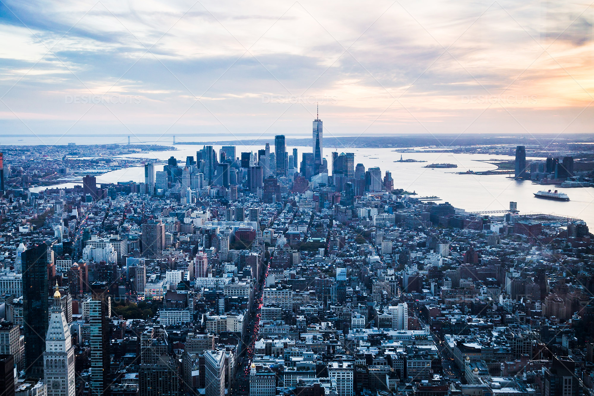 view of manhattan skyline from the empire state building
