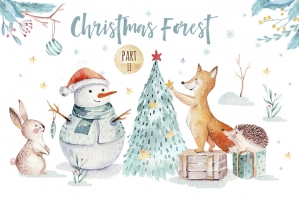 Watercolor Christmas Forest II