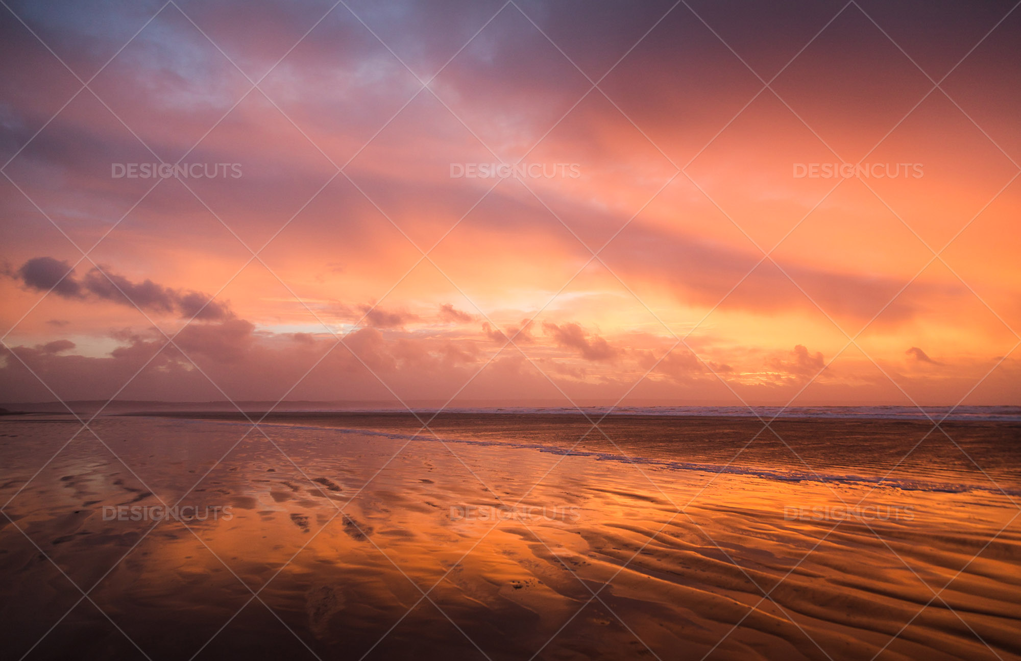 Wind Blowing Surface Water Over The Beach At Saunton Sands, Devon At Sunset 10