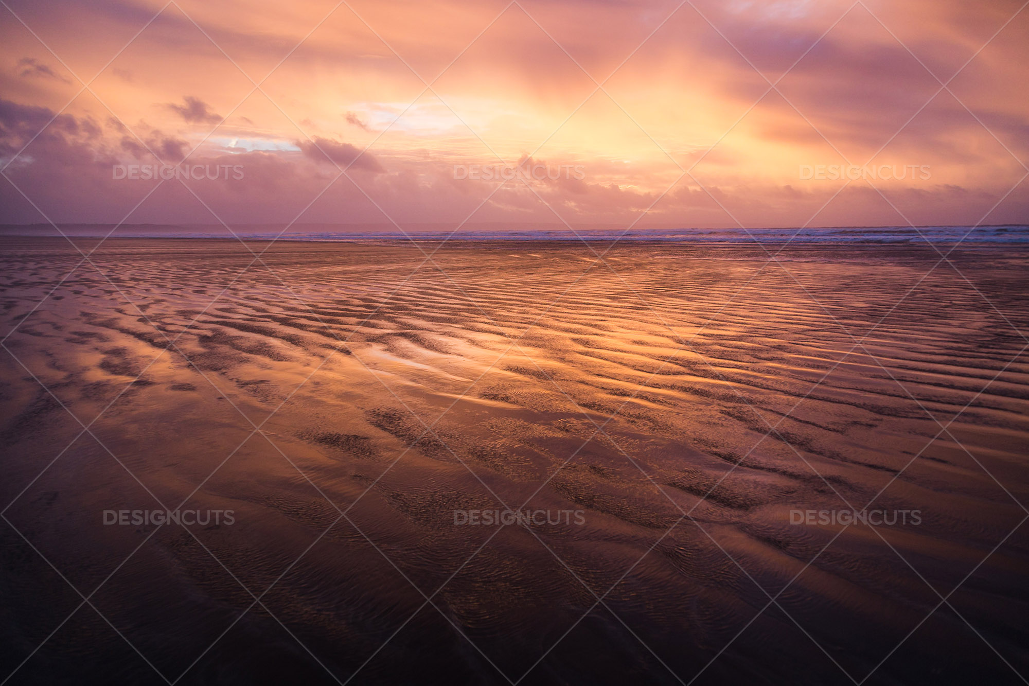 Wind Blowing Surface Water Over The Beach At Saunton Sands, Devon At Sunset 12