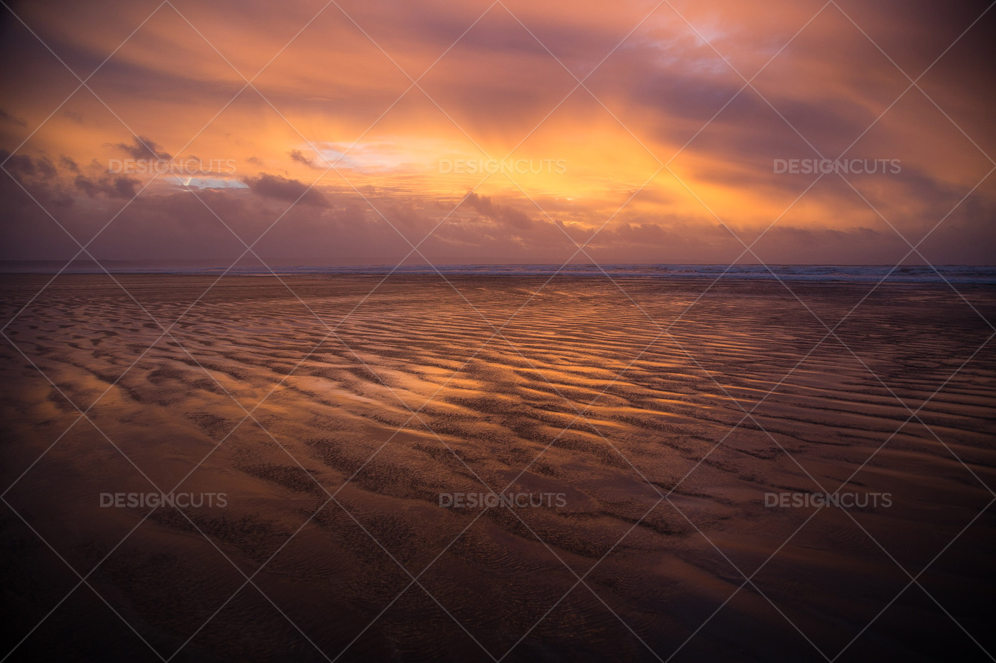 Wind Blowing Surface Water Over The Beach At Saunton Sands, Devon At Sunset 13