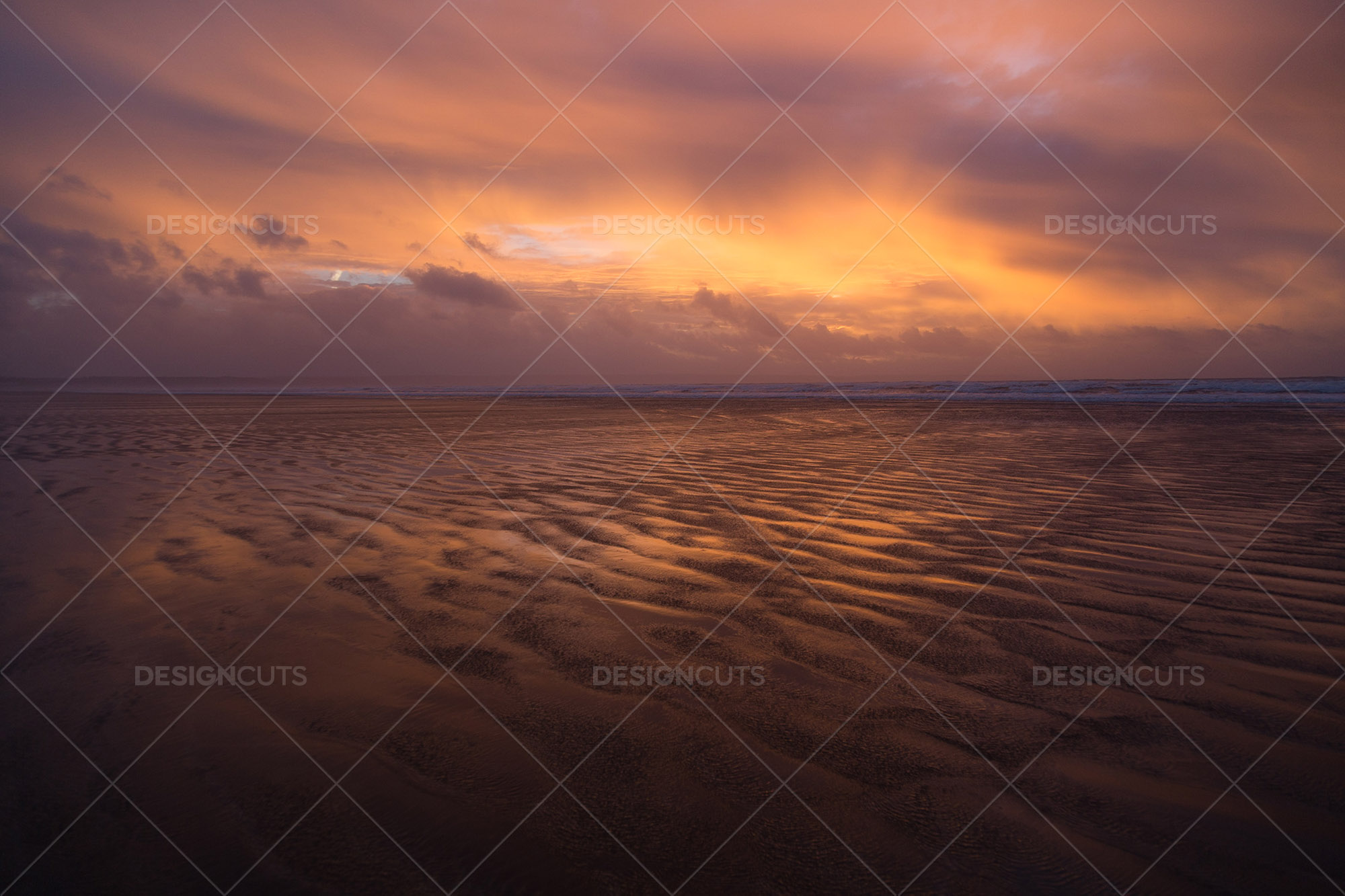 Wind Blowing Surface Water Over The Beach At Saunton Sands, Devon At Sunset 14