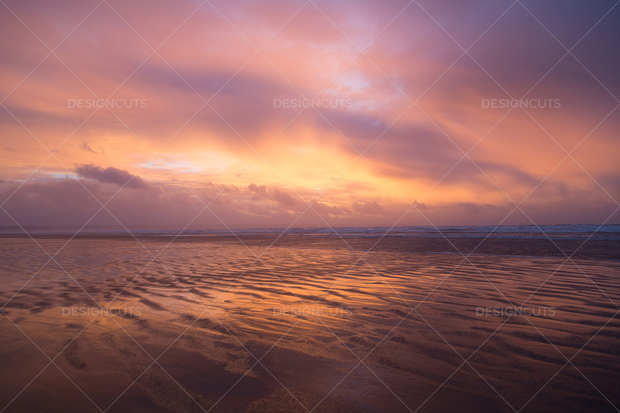 Wind Blowing Surface Water Over The Beach At Saunton Sands, Devon At Sunset 15