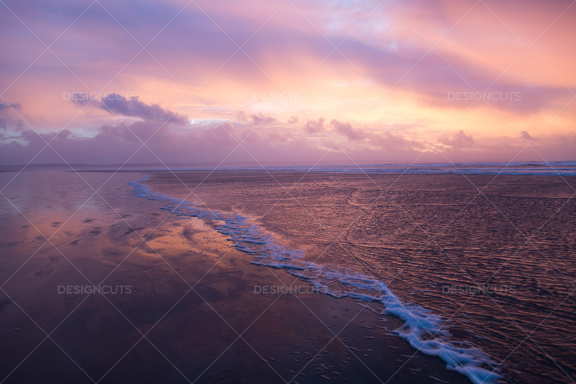 Wind Blowing Surface Water Over The Beach At Saunton Sands, Devon At Sunset 8