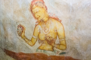 A Cave Painting Of The Buddhist Goddess Tara In Sigiriya No. 1
