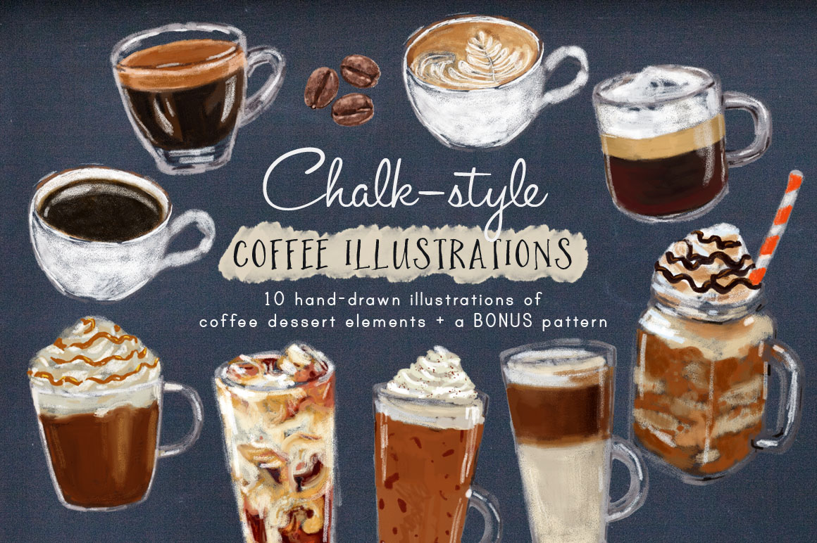 Chalk Style Coffee Illustrations