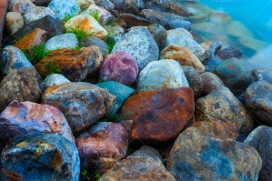 Colored Stones Leading To Canoe Rental Cabin In Lake Louise Canada