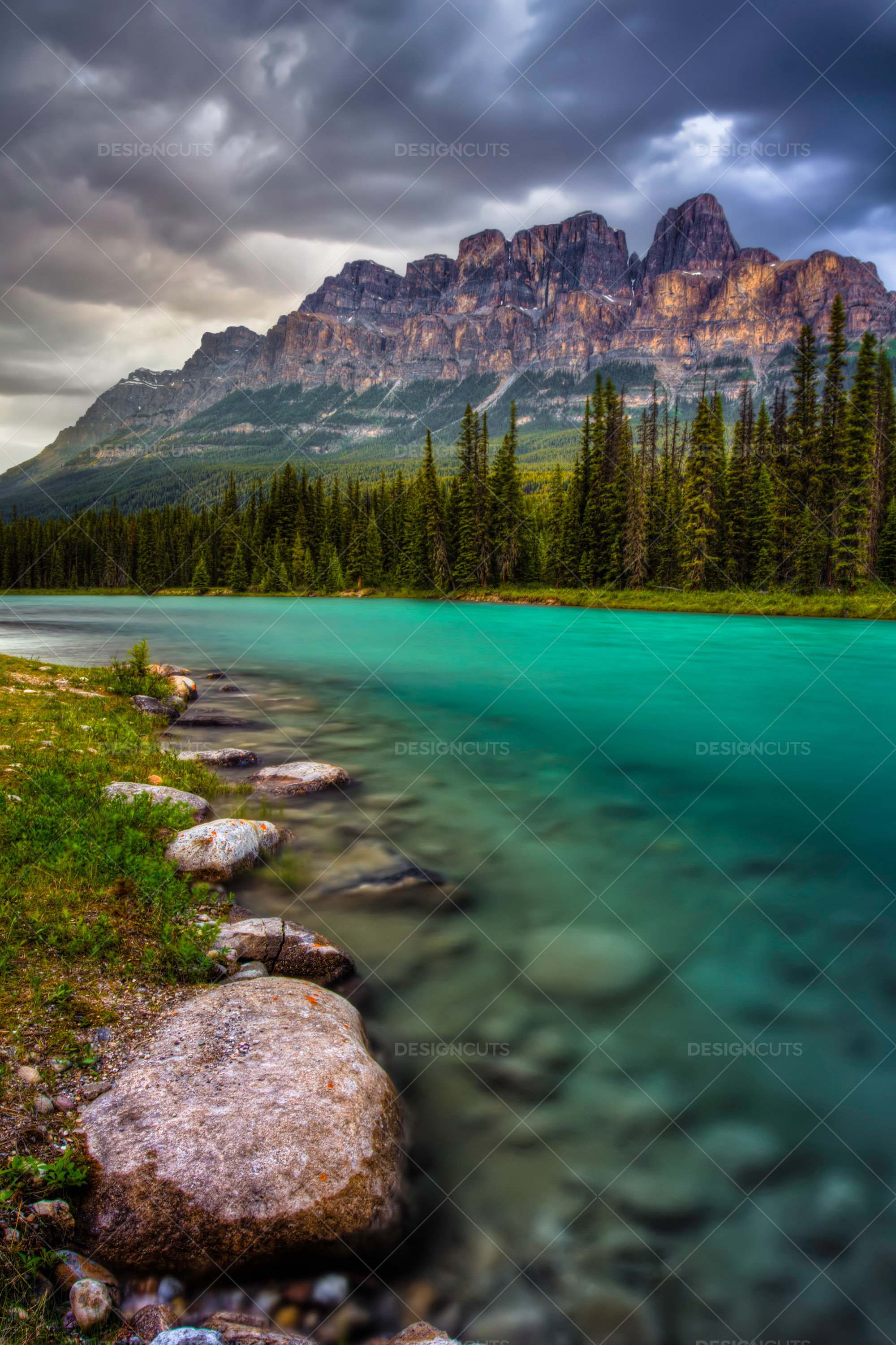 Rocky Mountains Above Crystal Blue Lake