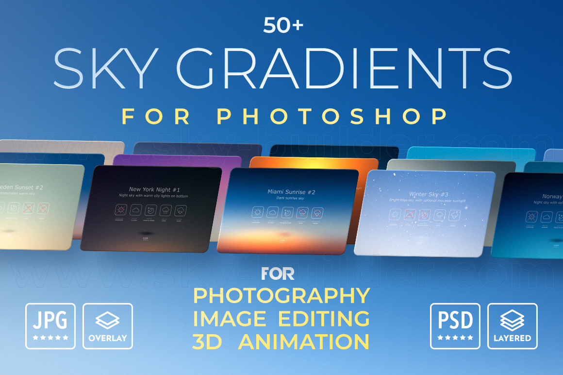 Sky Gradients For Photoshop - Sky Overlays - Design Cuts