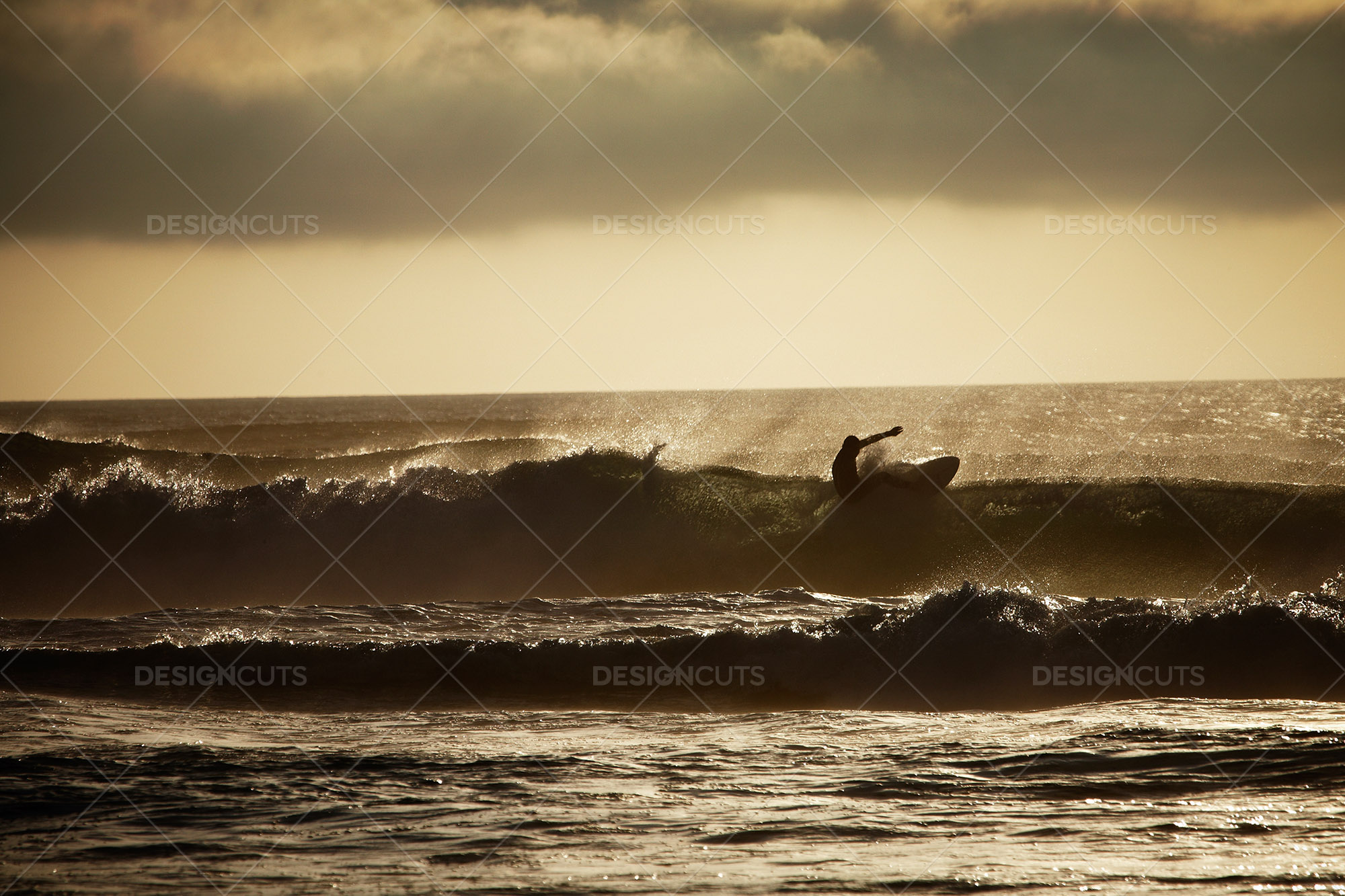 Surfer Riding Waves British Seaside