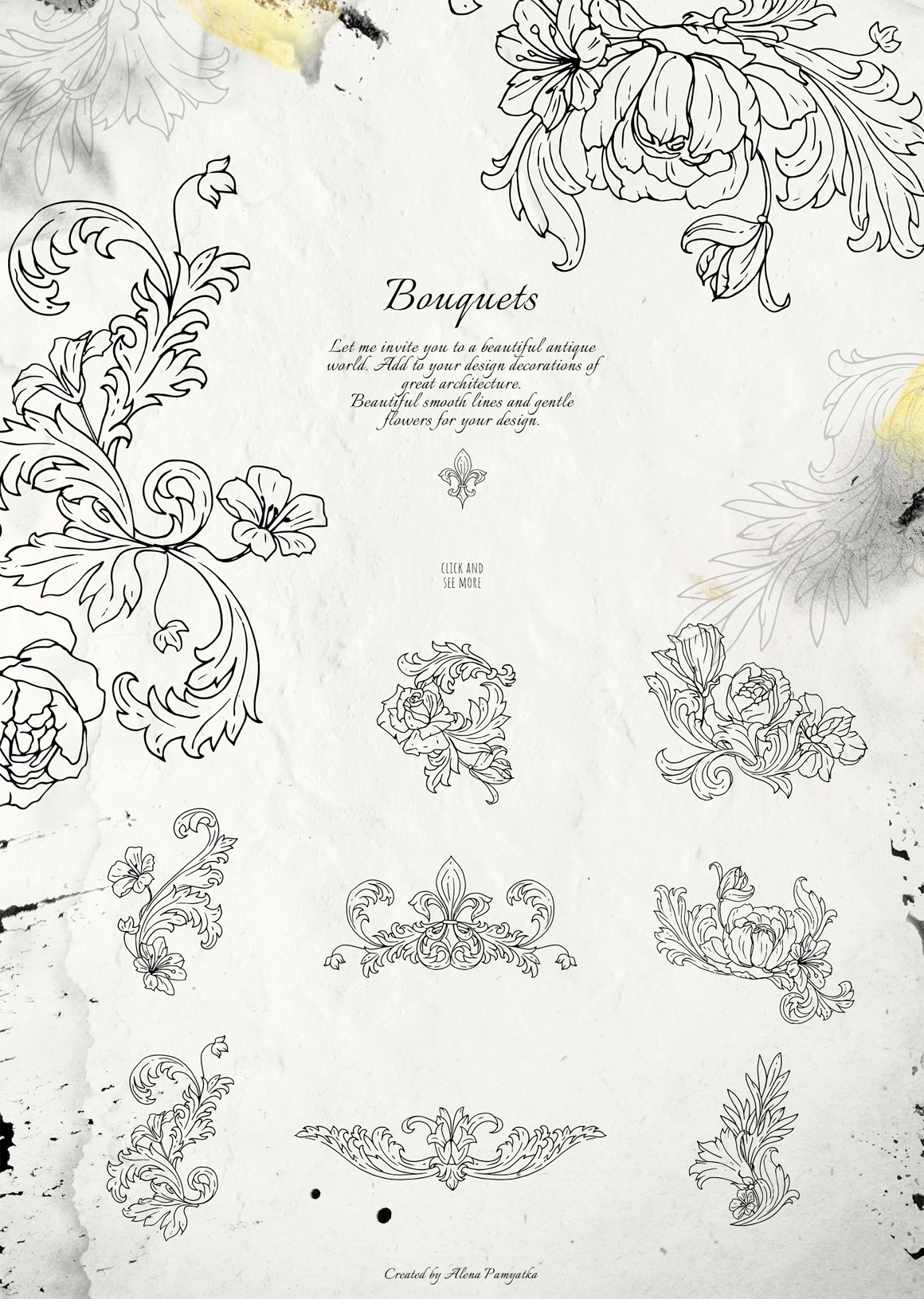Vintage Vector Ornaments And Flower Outlines
