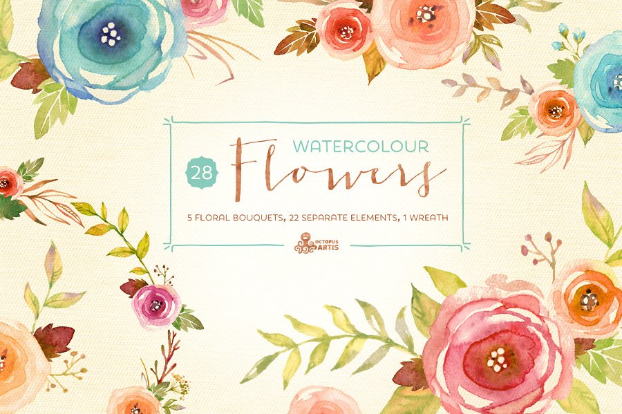 Watercolor Flowers Pack