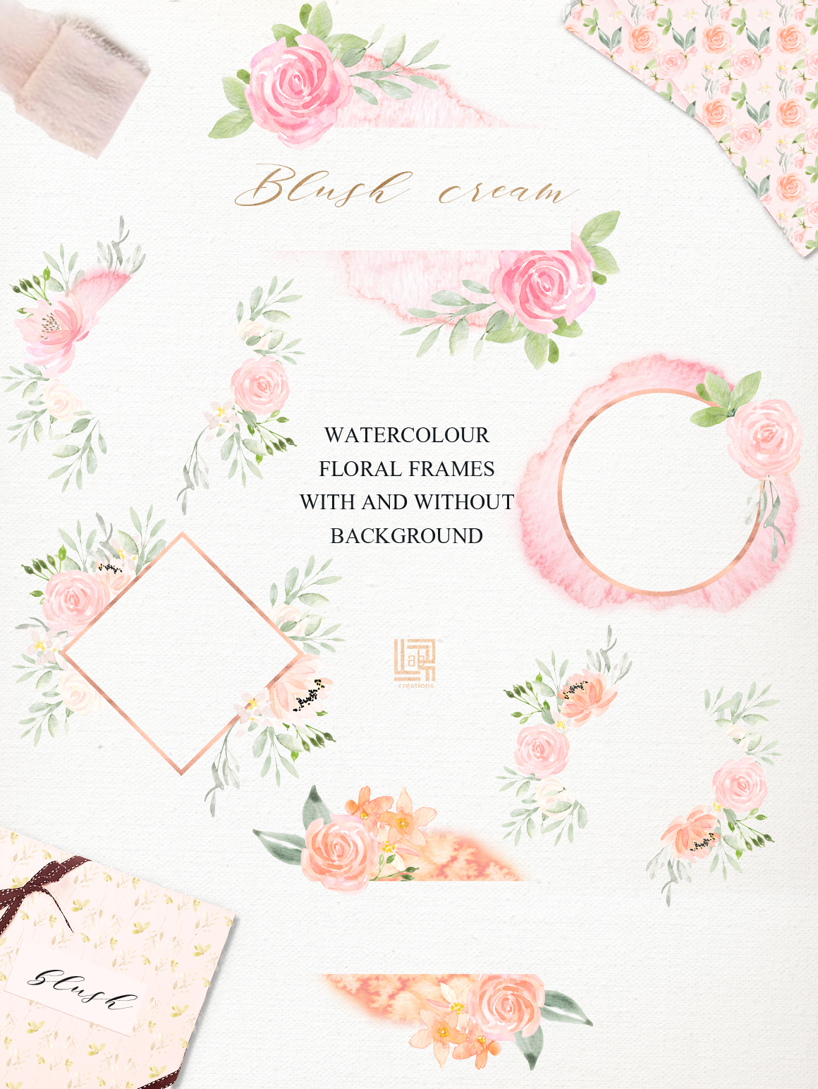 Blush Cream Watercolor Flowers Clipart
